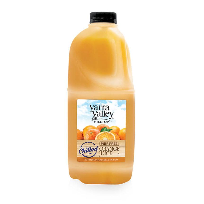 Yarra Valley Hilltop Orange Juice Pulp Free Chilled 2L