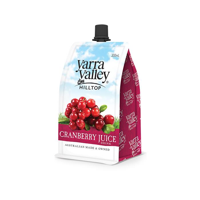 Yarra Valley Hilltop Cranberry Juice 200ml pouch